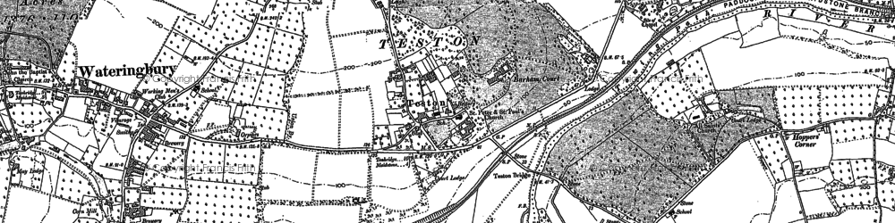 Old map of Barham Ct in 1895