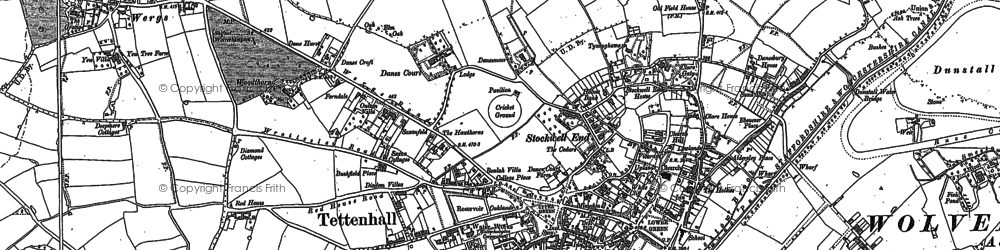 Old map of Tettenhall in 1886