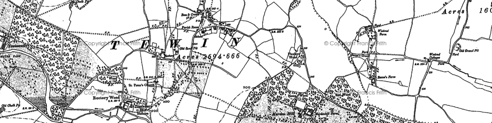 Old map of Tewin in 1897