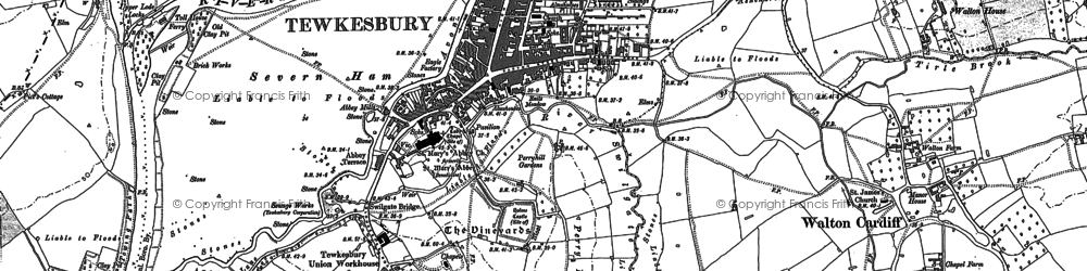 Old map of Tewkesbury in 1901