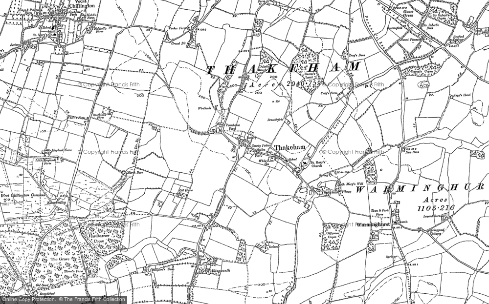 Old Map of Historic Map covering Abingworth in 1896