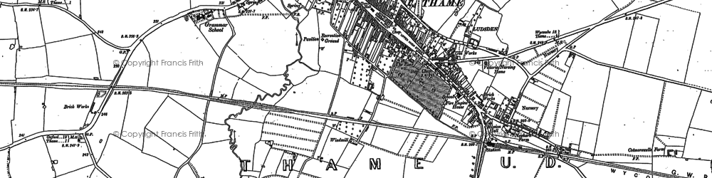 Old map of Thame in 1919