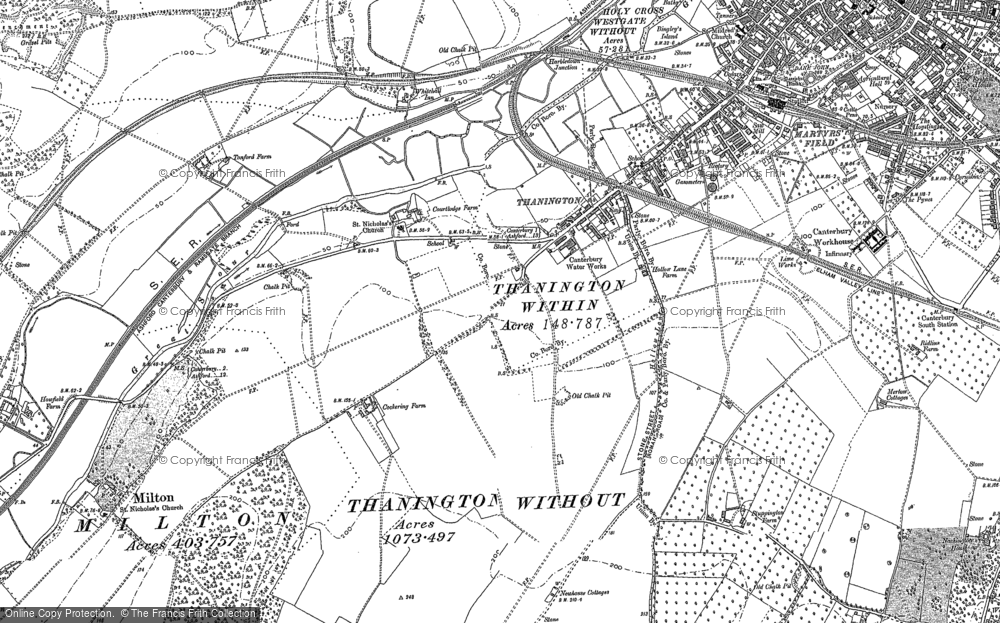 Old Map of Historic Map covering Larkey Valley Wood in 1896