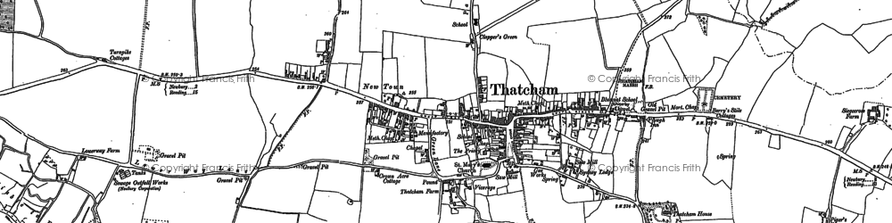 Old map of Thatcham in 1898