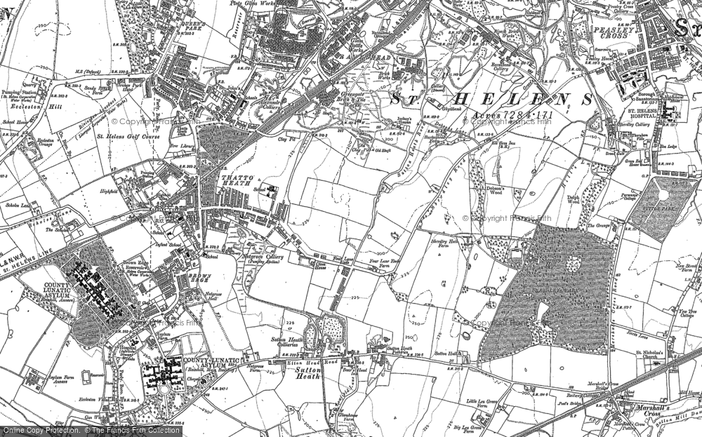 Old Map of Historic Map covering Lea Green in 1891