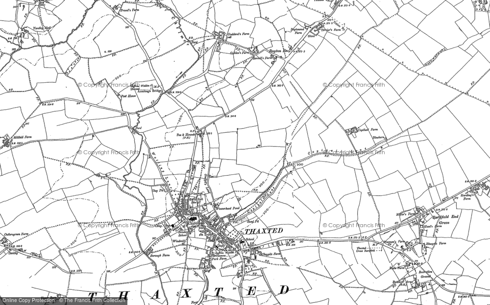 Old Map of Historic Map covering Bardfield End Green in 1876