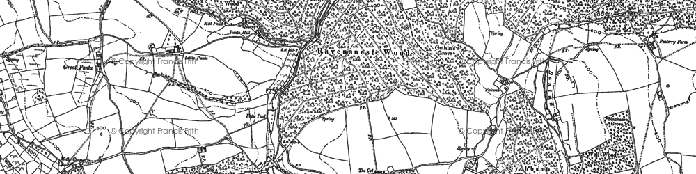 Old map of Tintern Cross in 1900