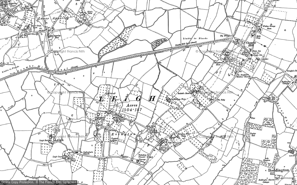 Old Map of Historic Map covering Leigh Ho in 1883