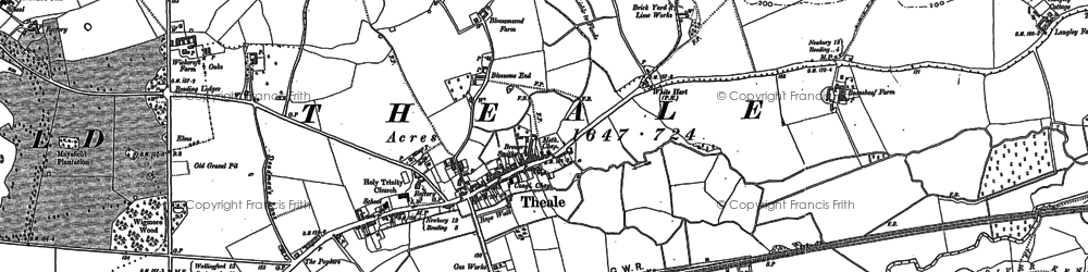 Old map of Wickcroft in 1898