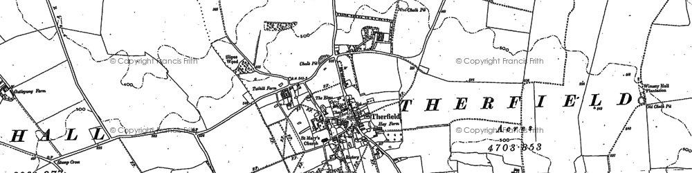 Old map of Therfield in 1896