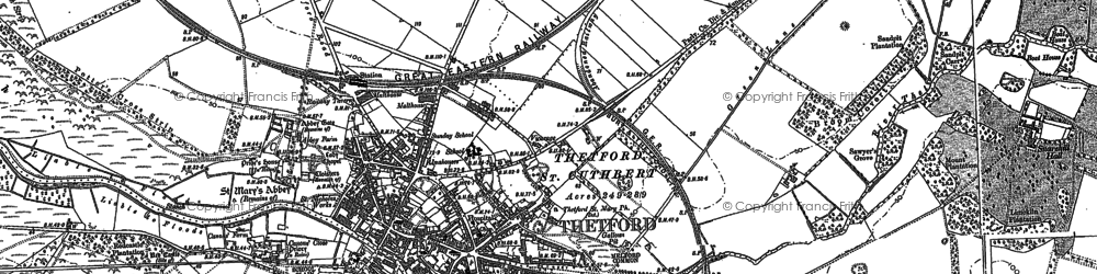 Old map of Thetford in 1903