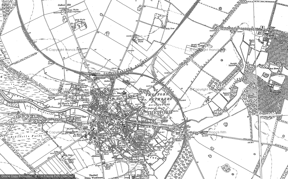 Old Map of Historic Map covering Abbey Heath in 1903
