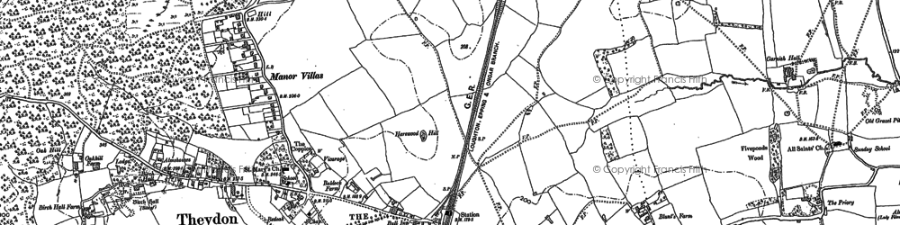 Old map of Ambresbury Banks in 1895