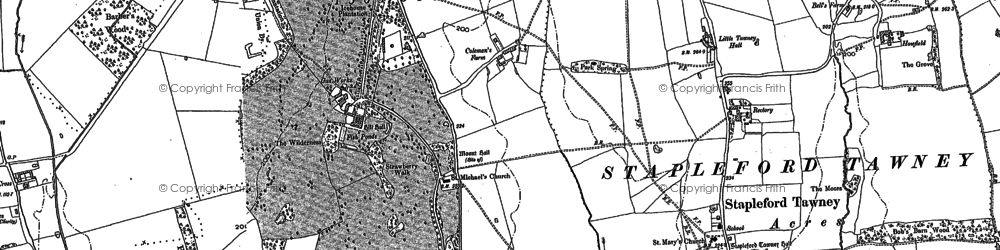 Old map of Theydon Mount in 1895