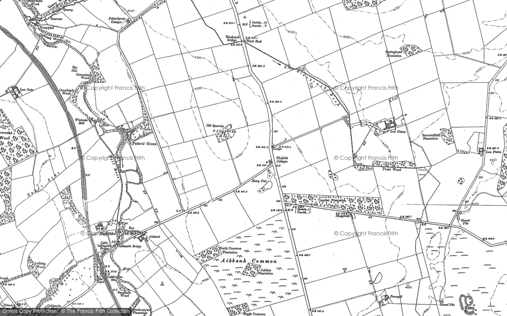 Old Map of Historic Map covering Aikbank Common in 1898