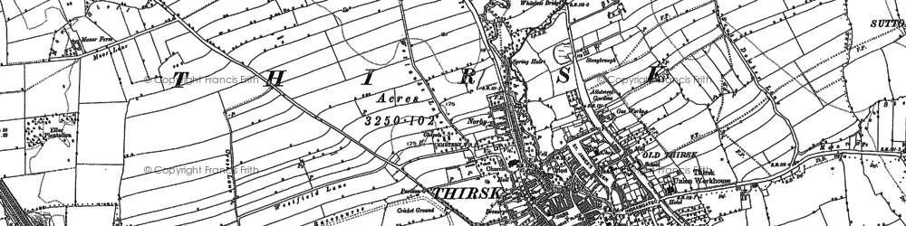 Old map of Thirsk in 1890