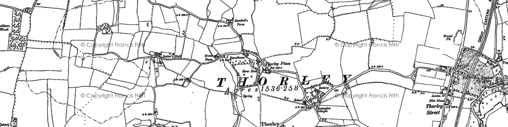 Old map of Thorley in 1915