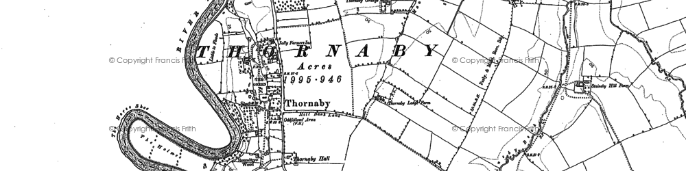 Old map of Thornaby-on-Tees in 1913