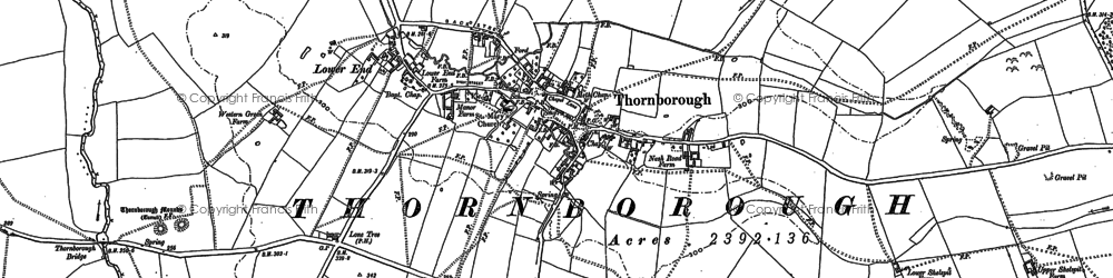 Old map of Thornborough in 1898