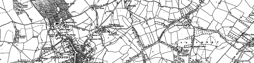 Old map of Thornbury in 1880