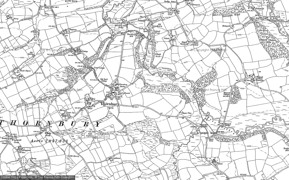 Old Map of Historic Map covering Lashbrook in 1884