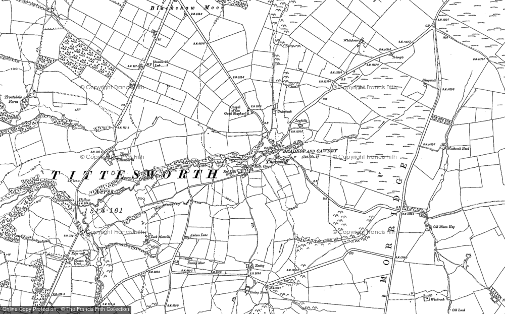 Old Map of Historic Map covering Ley Fields in 1878