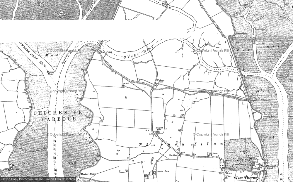 Old Map of Historic Map covering Fowley Island in 1909