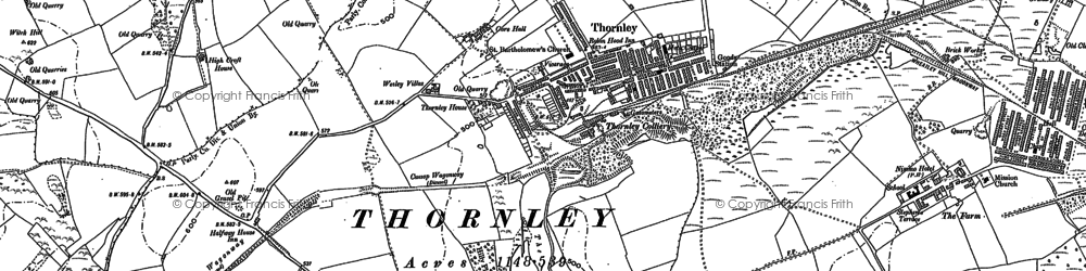 Old map of Thornley in 1896