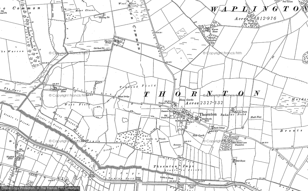 Old Map of Historic Map covering Allerthorpe Common in 1890