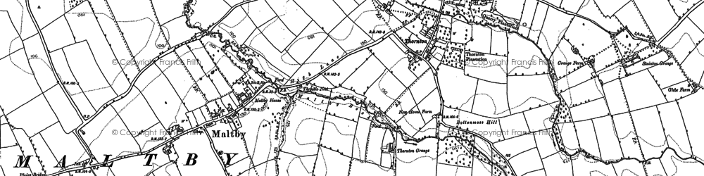 Old map of Thornton in 1913