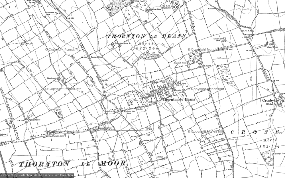 Old Map of Historic Map covering Awmack Ho in 1892