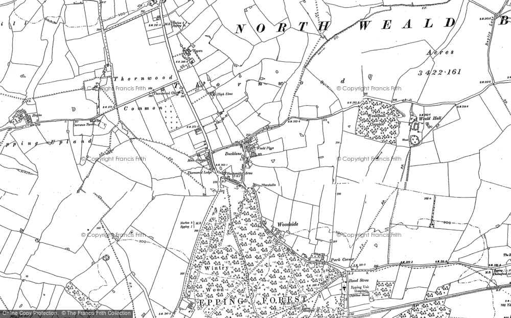 Old Map of Historic Map covering Latton Priory in 1895