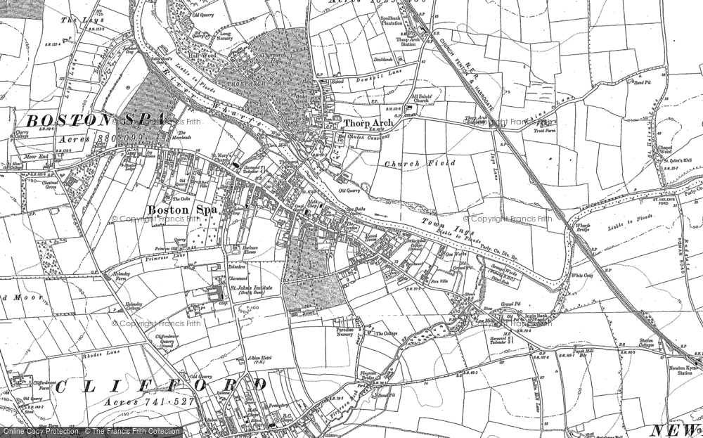 Old Map of Thorp Arch, 1891 in 1891
