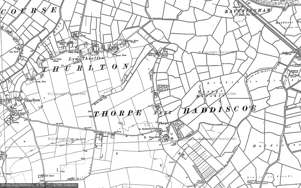 Old Map of Historic Map covering Thurlton Marshes in 1884