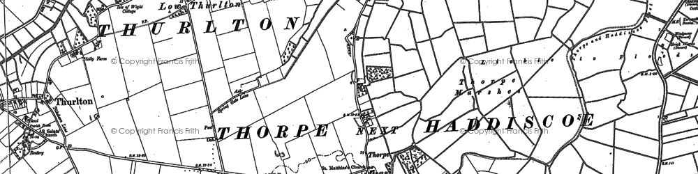 Old map of Thurlton Marshes in 1884