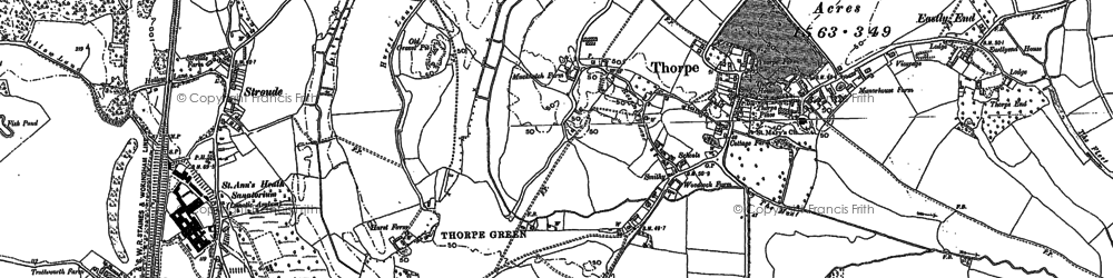 Old map of Thorpe in 1894