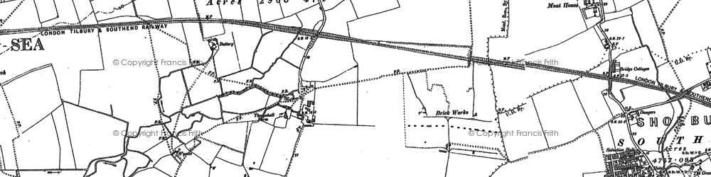 Old map of Thorpe Bay in 1896