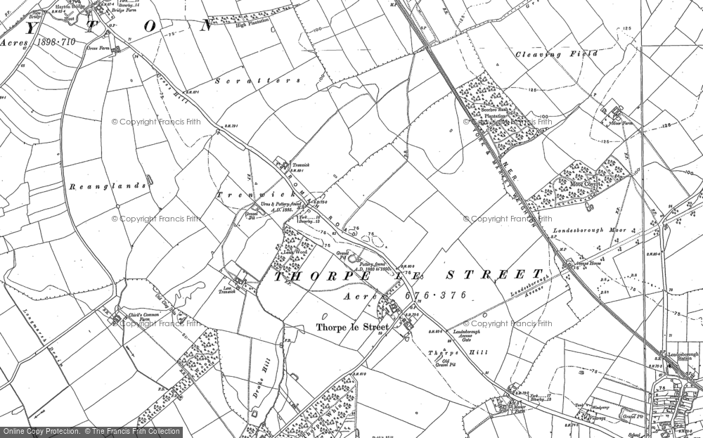 Old Map of Historic Map covering Leak Wood in 1884