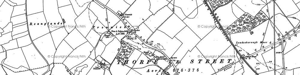 Old map of Leak Wood in 1884