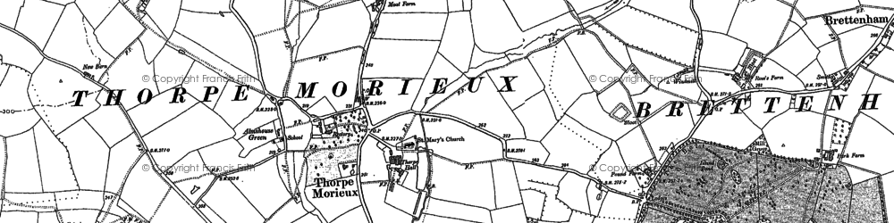 Old map of Almshouse Green in 1884