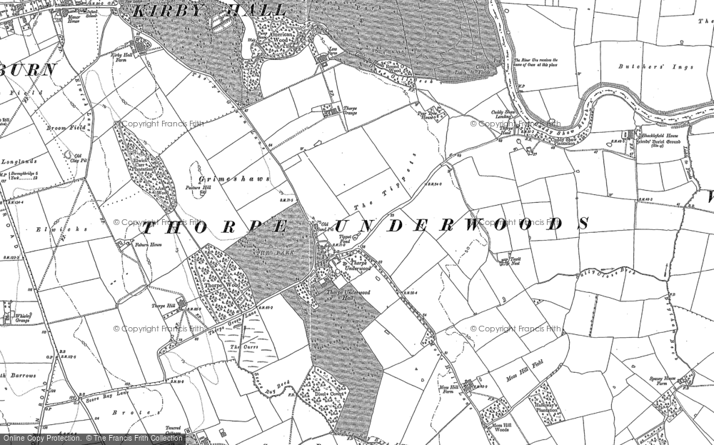 Old Map of Thorpe Underwood, 1892 in 1892