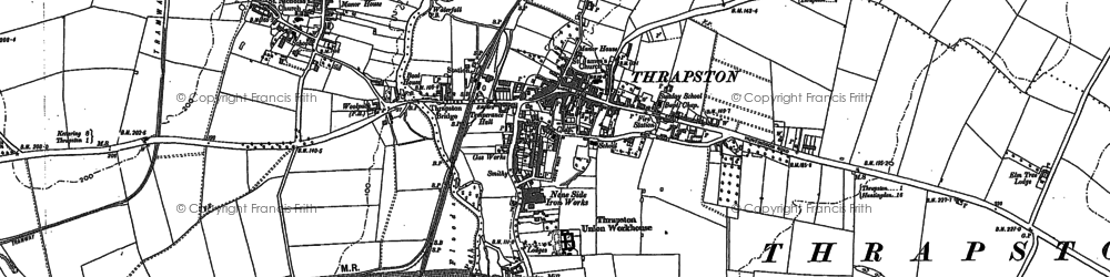 Old map of Thrapston in 1885