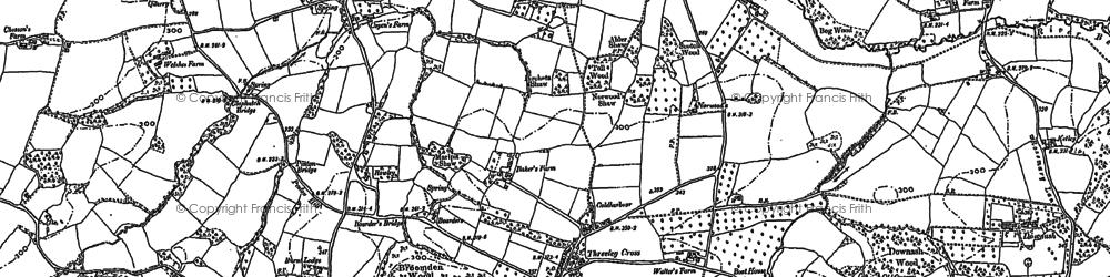 Old map of Three Leg Cross in 1908