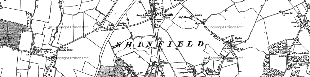 Old map of Three Mile Cross in 1898