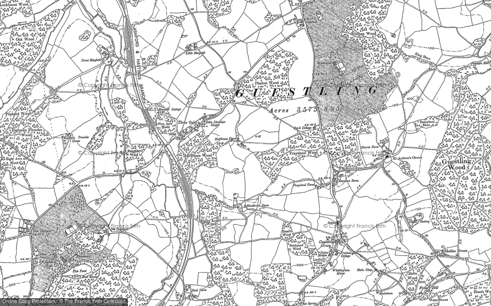Old Map of Historic Map covering Ashenden in 1908