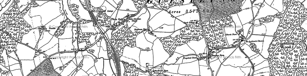 Old map of Ashenden in 1908