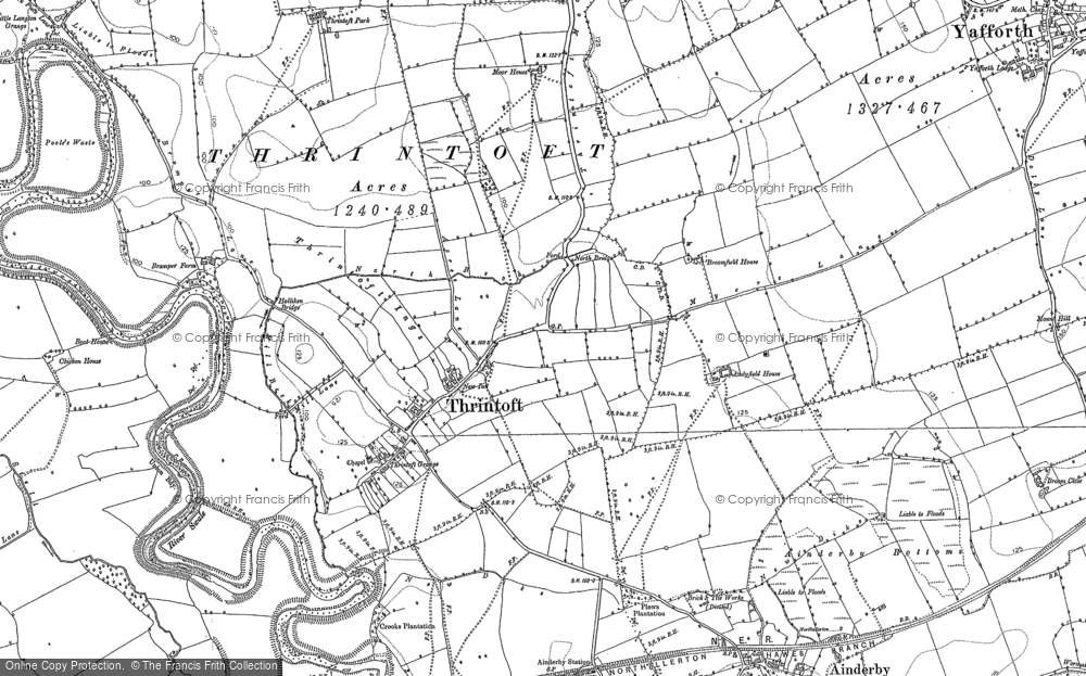 Old Map of Historic Map covering Yafforth Grange in 1891
