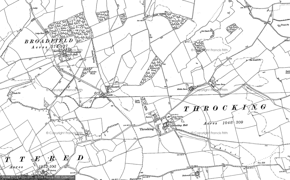 Old Map of Historic Map covering Whitehall in 1896