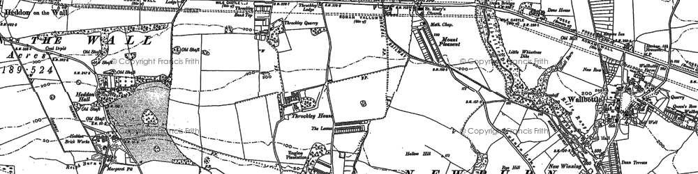 Old map of Throckley in 1895