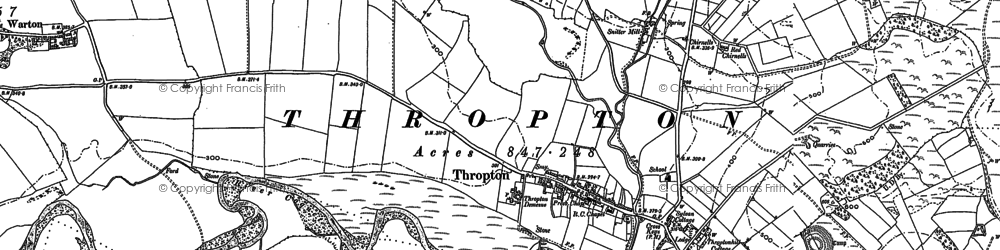 Old map of Thropton in 1896